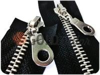 Блискавка металева тип 5 роз'ємна на два бігунка, колір чорний, зуб нікель