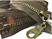Zipper metal type 8 the split strengthened, color brown, antique teeth