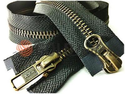 Блискавка YKK металева тип 5 роз'ємна на два бігунка, колір чорний, зуб антік купити оптом
