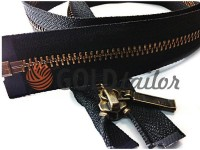 Zipper YKK metal type 5 the split, color black, antique teeth