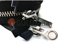 Zipper YKK metal type 5 the split two sliders, color black, nickel teeth