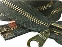 Блискавка металева тип 5 роз'ємна посилена, колір чорний, зуб антік