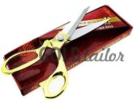 Shears tailors with a gold handle and a self-sharpening blades