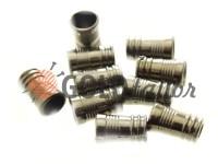 Кінцевик пластиковий Бочонок рифлений 10 мм*16 мм темний нікель, під шнур d= 5 мм, 10 шт