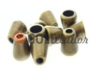 Tip bell plastic antique 12 mm* 12 mm, cord d= 5 mm, 10 pcs