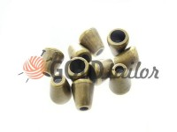 Tip bell plastic antique 10 mm* 10 mm, cord d= 4 mm, 10 pcs