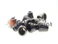 Tip bell plastic black nickel 10 mm* 10 mm, cord d= 4 mm, 10 pcs
