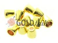 Tip bell plastic gold 12 mm* 12 mm, cord d= 5 mm, 10 pcs