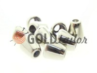 Tip bell plastic nickel 10 mm* 10 mm, cord d= 4 mm, 10 pcs