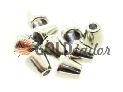 Купити накінечник Дзвіночок 13 мм* 6 мм нікель під шнур d = 4 мм оптом і вроздріб