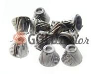 Tip bell point plastic black nickel 10 mm* 10 mm, cord d= 4 mm, 10 pcs