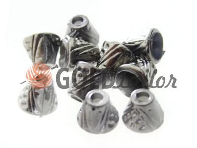 Купити накінечник Дзвіночок крапка 13 мм* 6 мм темний нікель під шнур d = 4 мм оптом і вроздріб