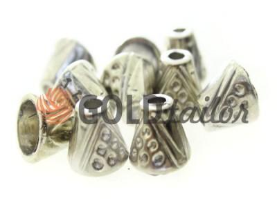 Купити накінечник Дзвіночок крапка 13 мм* 6 мм нікель під шнур d = 4 мм оптом і вроздріб