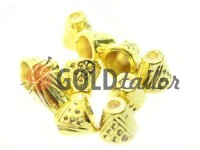 Tip bell point plastic gold 10 mm* 10 mm, cord d= 4 mm, 10 pcs