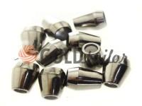 Tip bell plastic black nickel 13 mm* 11 mm, cord d= 5 mm, 10 pcs