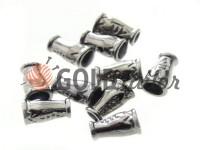 Tip bell ap plastic black nickel 14 mm* 9 mm, cord d= 4 mm, 10 pcs