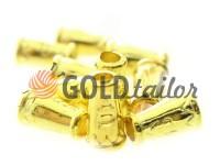 Tip bell ap plastic gold 14 mm* 9 mm, cord d= 4 mm, 10 pcs