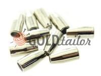 Кінцевик пластиковий Дзвіночок малий 13 мм* 6 мм нікель, під шнур d= 3 мм, 10 шт
