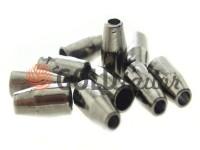 Tip bell small plastic black nickel 13 mm* 6 mm, cord d= 3 mm, 10 pcs
