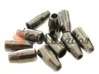 Кінцевик пластиковий Дзвіночок малий 13 мм* 6 мм темний нікель, під шнур d= 3 мм, 10 шт