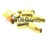 Tip bell small plastic gold 13 mm* 6 mm, cord d= 3 mm, 10 pcs