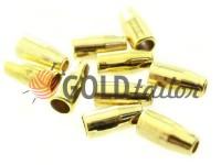 Кінцевик пластиковий Дзвіночок малий 13 мм* 6 мм золото, під шнур d= 3 мм, 10 шт