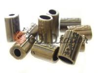 Кінцевик пластиковий Бочонок рифлений 11 мм*14 мм антик, під шнур d= 4 мм, 10 шт