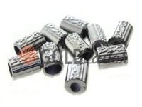 Кінцевик пластиковий Бочонок рифлений 11 мм*14 мм темний нікель, під шнур d= 5 мм, 10 шт