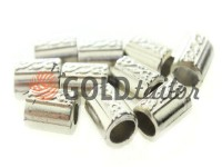 Кінцевик пластиковий Бочонок рифлений 11 мм*14 мм нікель, під шнур d= 4 мм, 10 шт