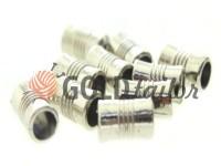 Кінцевик пластиковий Бочонок рифлений 7 мм*12 мм нікель, під шнур d= 4 мм, 10 шт