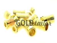 Кінцевик пластиковий Бочонок рифлений 7 мм*12 мм золото, під шнур d= 4 мм, 10 шт