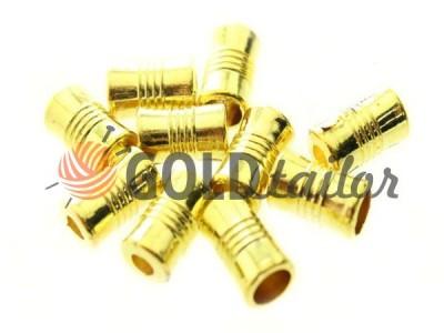 """Купити накінечник """"Бочонок"""" 7мм*12мм рифлений золото під шнур d = 4 мм оптом і вроздріб"""
