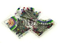 Set tailor pins with colored ears in box 80 pcs
