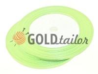 Стрічка атласна 7 мм, колір блідо-зелений, довжина 25 м