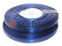 Стрічка атласна 7 мм, колір синьої опівночі, довжина 33 м