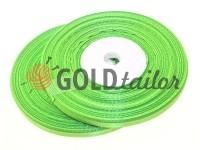 Стрічка атласна 7 мм, колір весняної зеленні, довжина 33 м