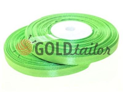 Акція - Стрічка атласна 7мм, колір весняної зеленні, довжина 33 м, купити від 1 бабині без реєстрації
