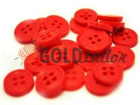 Button plastic four-shock, color red, packing 25 pcs