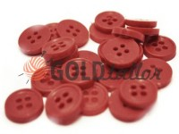 Button plastic four-shock, color dark-red, packing 25 pcs