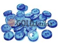Пуговица пластиковая двух-ударная, цвет прозрачный голубой, упаковка 25 шт