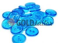 Гудзик пластиковий двох-ударний, колір прозорий світло-блакитний, упаковка 25 шт