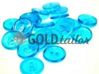 Пуговица пластиковая двух-ударная, цвет прозрачный светло-голубой, упаковка 25 шт