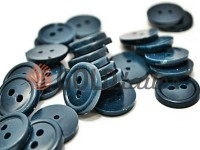 Пуговица пластиковая двух-ударная, цвет синий, упаковка 25 шт