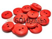 Пуговица пластиковая двух-ударная, цвет красный, упаковка 25 шт