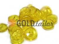 Пуговица пластиковая двух-ударная, цвет прозрачный желтый, упаковка 25 шт
