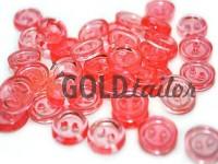 Гудзик пластиковий двох-ударний, колір прозорий рожевий, упаковка 25 шт