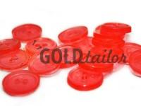 Гудзик пластиковий двох-ударний, колір прозорий червоний, упаковка 25 шт
