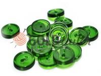 Гудзик пластиковий двох-ударний, колір прозорий зелений, упаковка 25 шт
