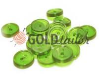 Пуговица пластиковая двух-ударная, цвет прозрачный светло-зеленый, упаковка 25 шт
