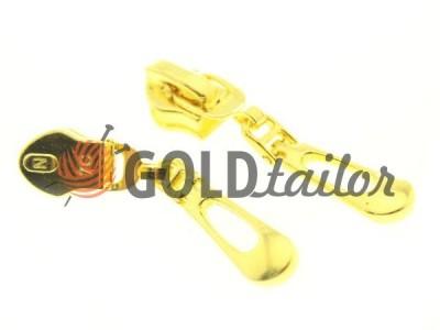 Бігунок слайдер Крапля для спіральної блискавки тип 7 колір золото
